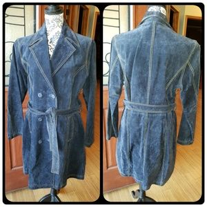 NWOT Classy Navy blue genuine leather suede trench
